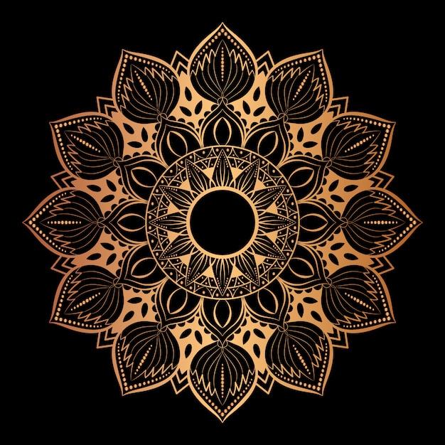 Arte de mandala de luxo com estilo oriental de fundo dourado 6 Vetor Premium