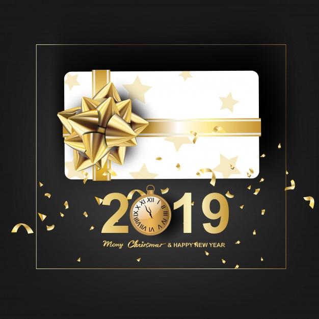 Arte de papel de feliz natal e feliz ano novo 2019 Vetor Premium