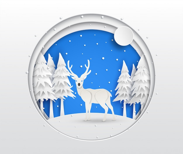 Arte de papel de renas na floresta Vetor Premium