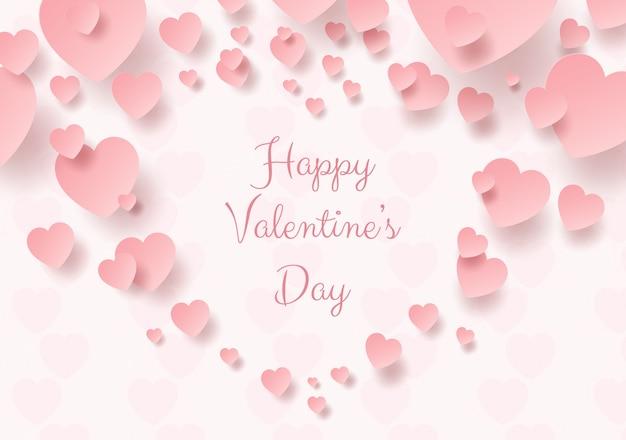Arte de papel do coração rosa dos namorados Vetor Premium