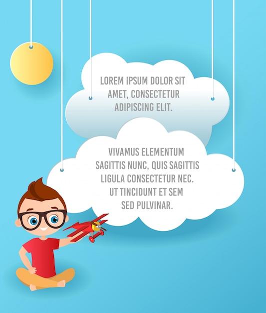Arte de papel do vetor da nuvem e do voo do plano no céu. publicidade modelo Vetor Premium