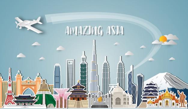 Arte de papel famosa do marco de ásia. saco global de infographic do curso e da viagem. Vetor Premium