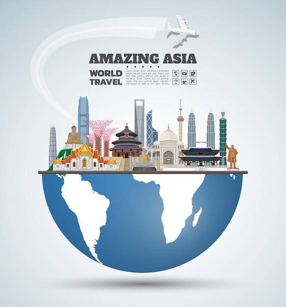 Arte de papel famosa do marco de ásia. viagem global e viagem infográfico. Vetor Premium