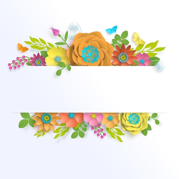 Arte de papel floral de modelo de banner com borboleta Vetor Premium