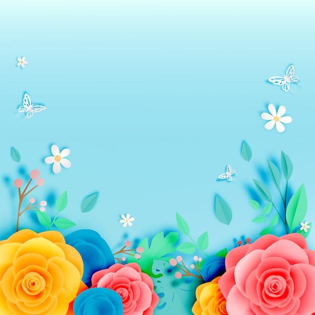 Arte de papel floral lindo com illustation de vetor de borboleta Vetor Premium
