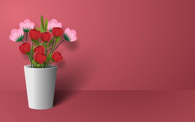 Arte de papel origami de flor em vaso Vetor Premium