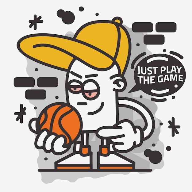 Arte de rua com tema de basquete grafite estético dos desenhos animados mascote personagem camiseta design de impressão Vetor Premium