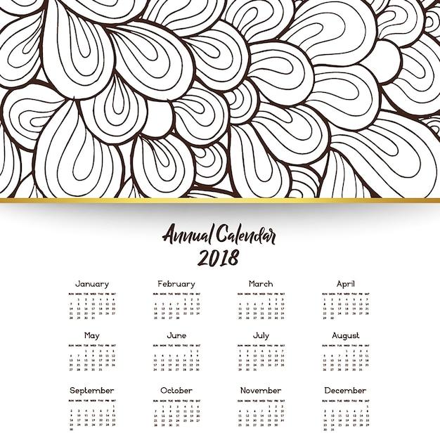 Arte desenhada mão desenhada desenhos coloridos do calendário Vetor grátis