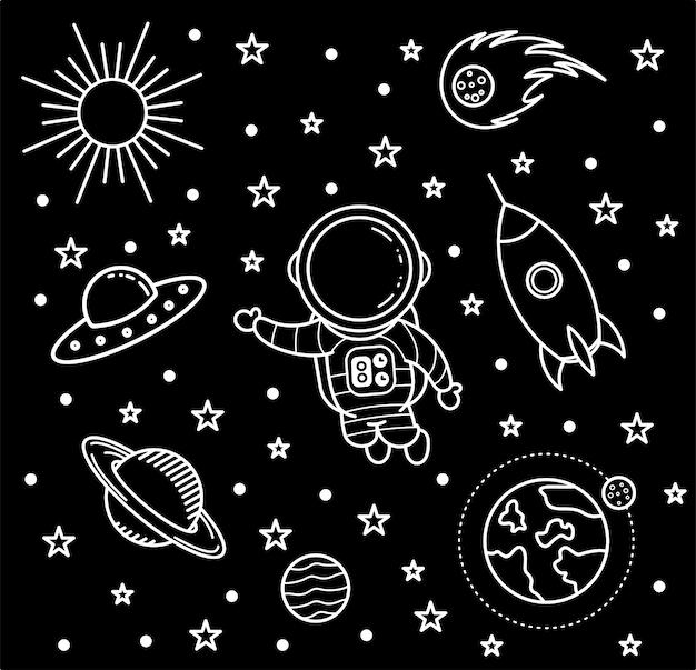 Arte do doodle, papel de parede preto e branco do astronauta Vetor Premium