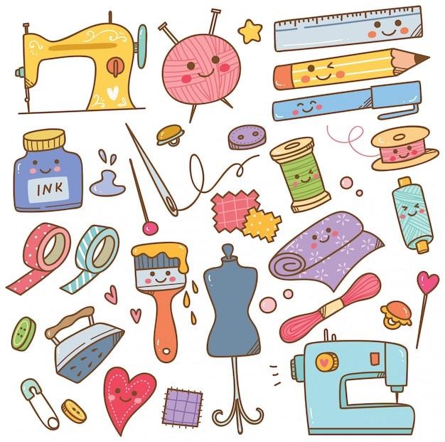 Arte e artesanato fornece doodle, conjunto de ferramentas diy Vetor Premium