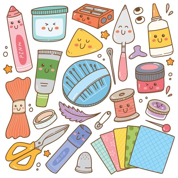 Arte e artesanato suprimentos doodle, conjunto de ferramentas diy Vetor Premium