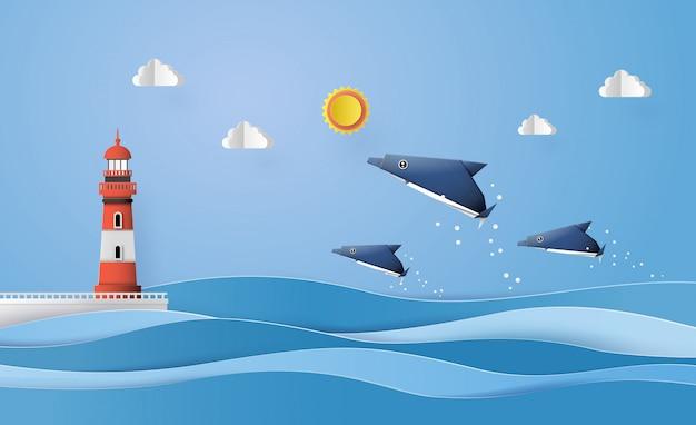 Arte em papel feita de golfinho Vetor Premium