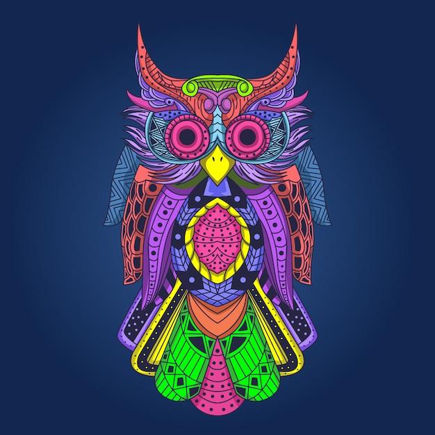 Arte-final colorida da coruja Vetor Premium
