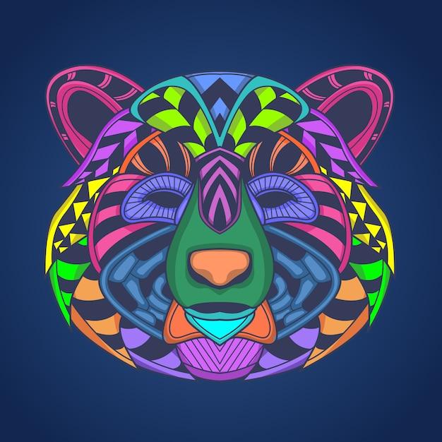 Arte-final da cabeça do urso de colorfull Vetor Premium