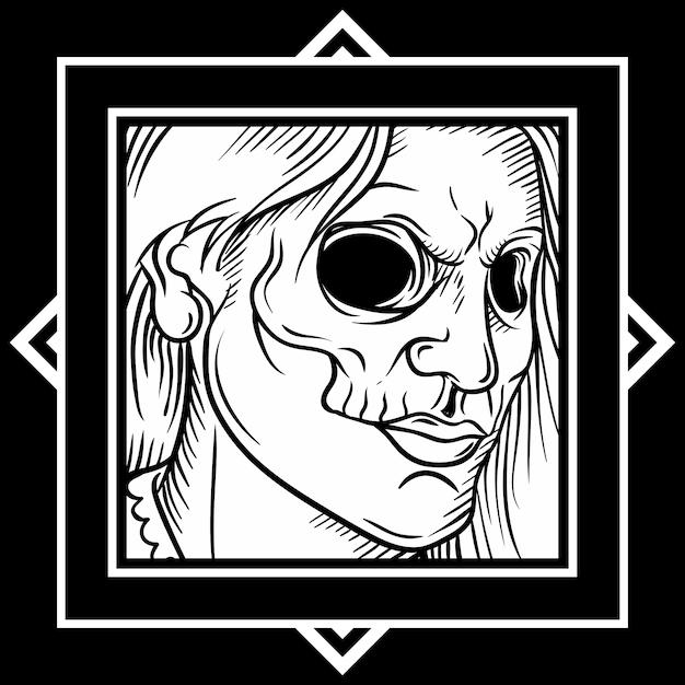 Arte-final do crânio estilo vintage, desenho à mão, isolado Vetor Premium