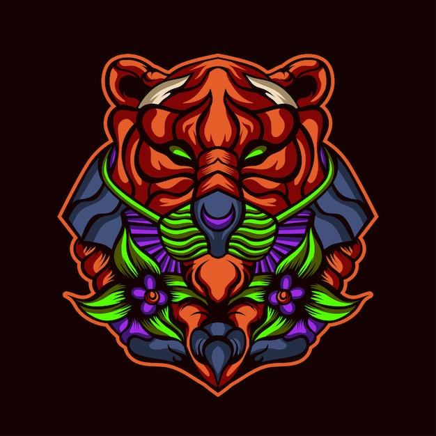 Arte finala do tigre da floresta profunda Vetor Premium