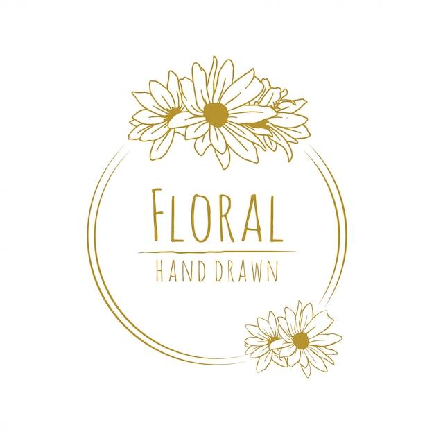 Arte floral linha ouro flor Vetor Premium