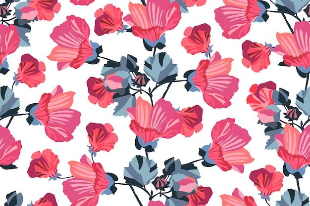 Arte floral padrão sem emenda. malva de jardim vermelha, rosa, marrom, bordô, laranja flores com azul marinho ramos e folhas isoladas no fundo branco. para papel de parede, tecido, têxtil, papel. Vetor Premium