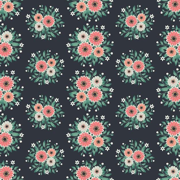 Arte floral para tecidos de vestuário e moda, cosmos flores grinalda hera estilo com galhos e folhas. fundo de padrões sem emenda. Vetor Premium