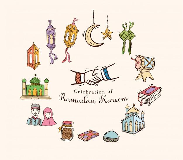 Arte islâmica doodle definida para ramadan kareem Vetor Premium