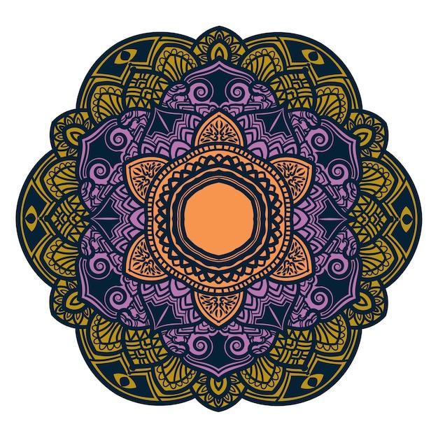 Arte mandala colorida com lindas flores e folhas Vetor Premium