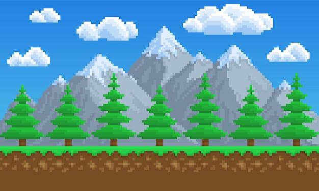 Arte pixel, natureza, montanhas, pinheiros, árvore, plano de fundo para o jogo. 8 bit Vetor Premium