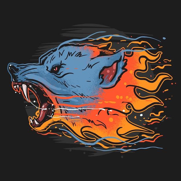 Arte selvagem do animal do fogo do lobo Vetor Premium