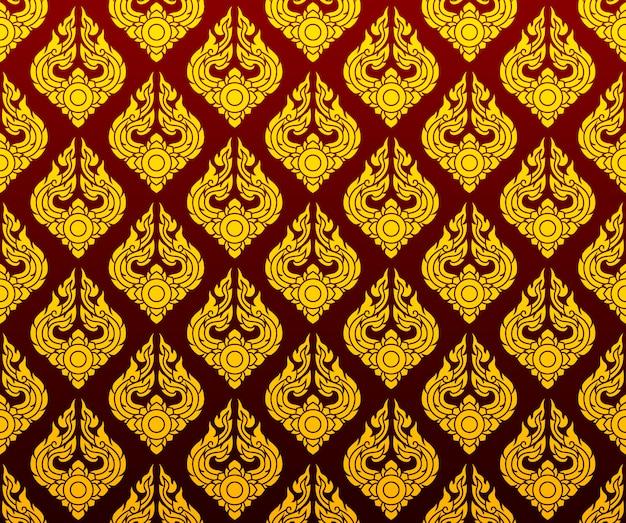 Arte sem costura padrão tailandês dourado sobre fundo vermelho escuro Vetor Premium
