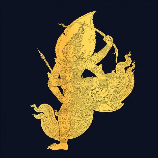 Arte tailandesa tradicional na ilustração da história de ramayana Vetor Premium