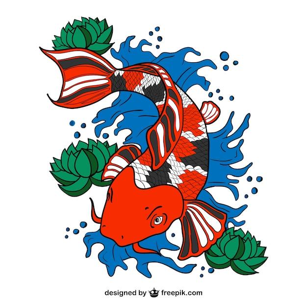 Arte vetor peixes koi Vetor grátis