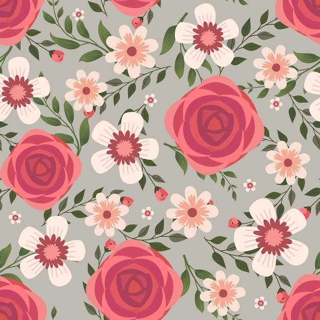 Arte vetorial floral para tecidos de vestuário e moda, flores de rosa vermelha grinalda estilo hera com galho e folhas. fundo de padrões sem emenda. Vetor Premium