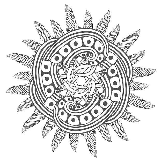 Arte zentangle mágico para páginas de colorir livro. mandala para design de tatuagem Vetor Premium