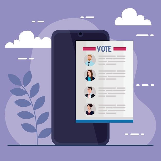Artigo de presidentes de votação no dia da eleição sobre design de smartphone, governo e tema de campanha Vetor Premium
