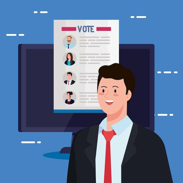 Artigo dos presidentes de votação no dia da eleição sobre computador e design do homem, governo e tema de campanha Vetor Premium