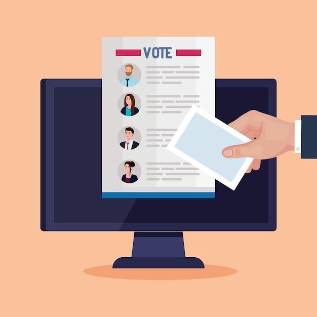 Artigo dos presidentes de votação no dia da eleição sobre design de computador, governo e tema de campanha Vetor Premium