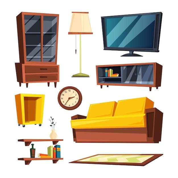 Artigos de mobília da sala de visitas. ilustrações vetoriais em estilo cartoon Vetor Premium