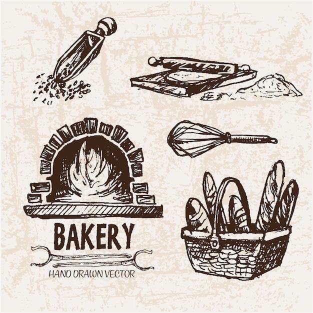 Artigos de padaria desenhados à mão Vetor Premium