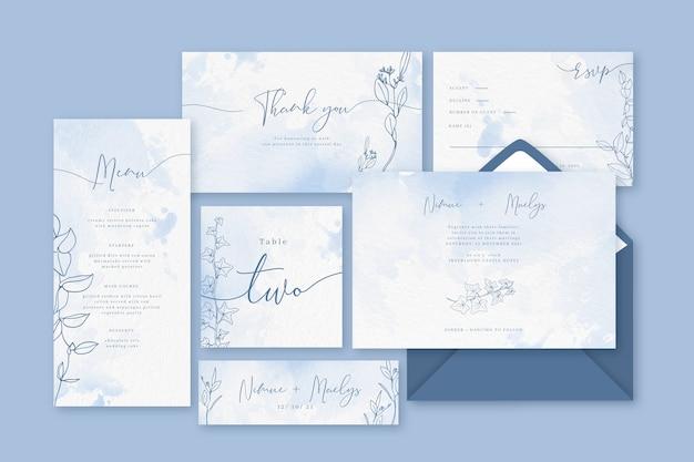 Artigos de papelaria azuis pastel do pó do casamento Vetor grátis