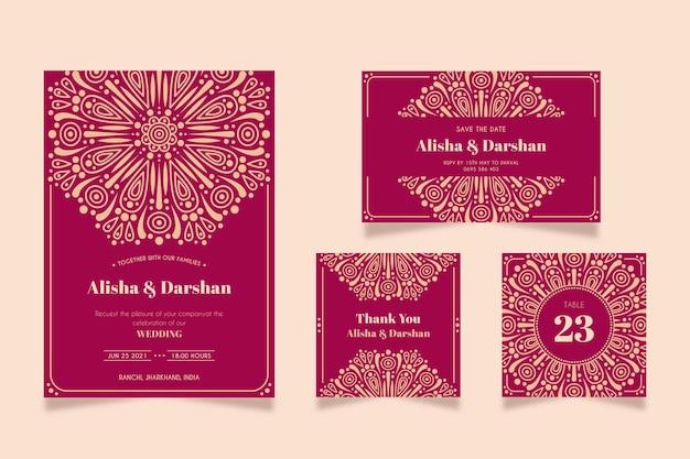Artigos de papelaria bonitos do casamento para pares indianos Vetor Premium