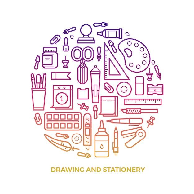 Artigos de papelaria brilhante e ícones de linha de desenho redondos Vetor Premium