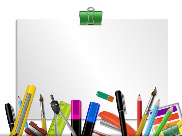 Artigos de papelaria coloridos com página em branco Vetor grátis