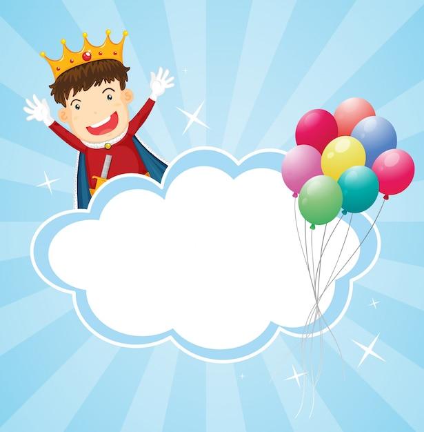 Artigos de papelaria com um rei e balões Vetor grátis