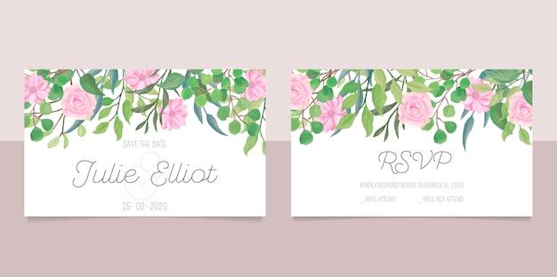 Artigos de papelaria de casamento com flores em aquarela Vetor grátis