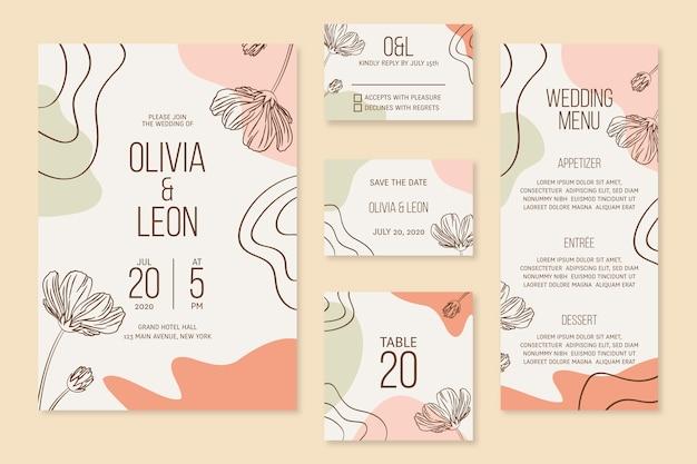 Artigos de papelaria de casamento com flores Vetor grátis