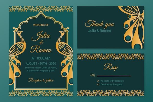 Artigos de papelaria de casamento criativo para casal indiano Vetor Premium