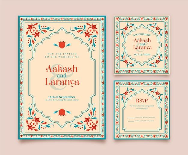 Artigos de papelaria de casamento para casal indiano com motivos florais Vetor Premium