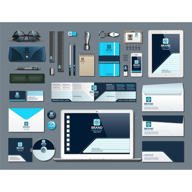 Artigos de papelaria de negócios com design azul Vetor grátis