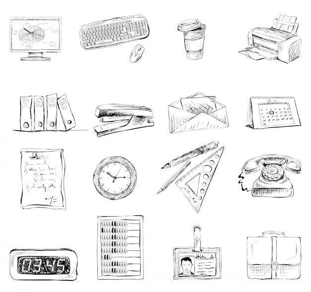Artigos de papelaria do escritório de negócios fornece o conjunto de ícones Vetor grátis