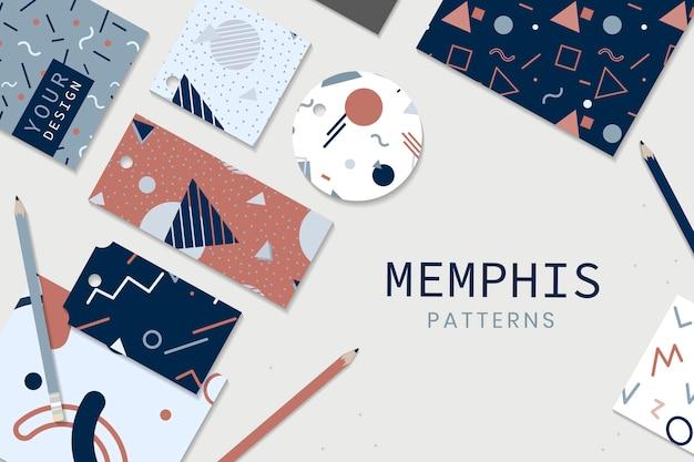Artigos de papelaria do estilo de memphis Vetor grátis