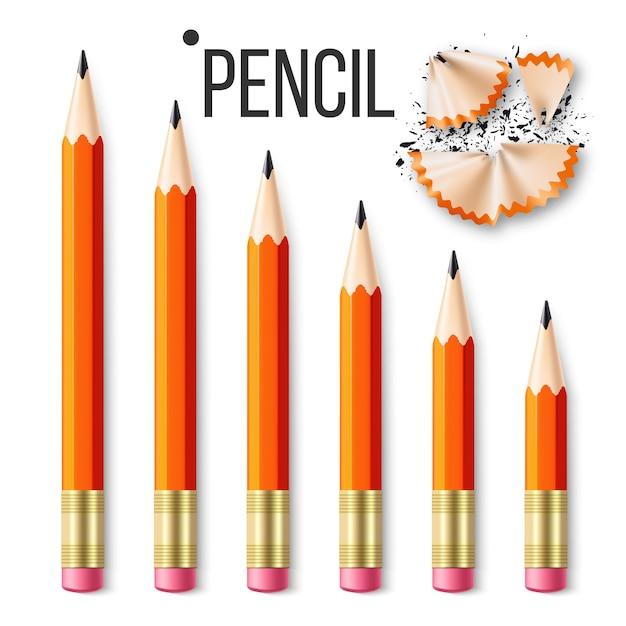 Artigos de papelaria do lápis Vetor Premium